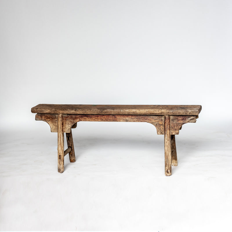 Antique Scholars Bench with Carved Spandrels YX0118069DA-SEATING-Wu & McHugh