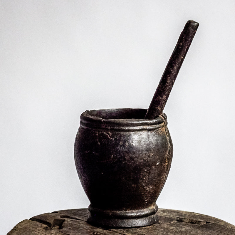 Antique Iron Mortar and Pestle FC0018029-TABLE DÉCOR-Wu & McHugh