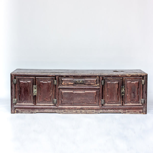 Antique Long Four Door + One Drawer Low Cabinet YX0608047-CABINETS & STORAGE-Wu & McHugh