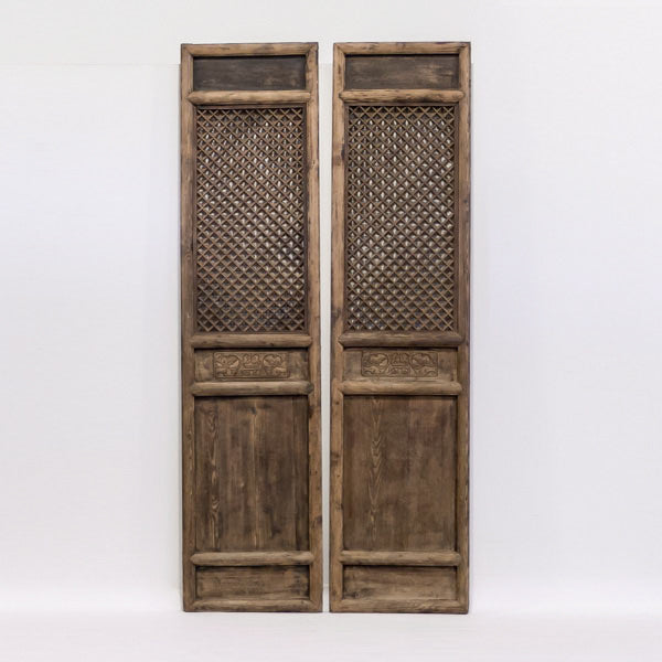 Antique Large Latticework Wooden Door Panels AD0416005-ARCHITECTURAL ELEMENTS-Wu & McHugh