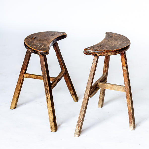 Antique Half Moon Wooden Stools YX0118101-SEATING-Wu & McHugh
