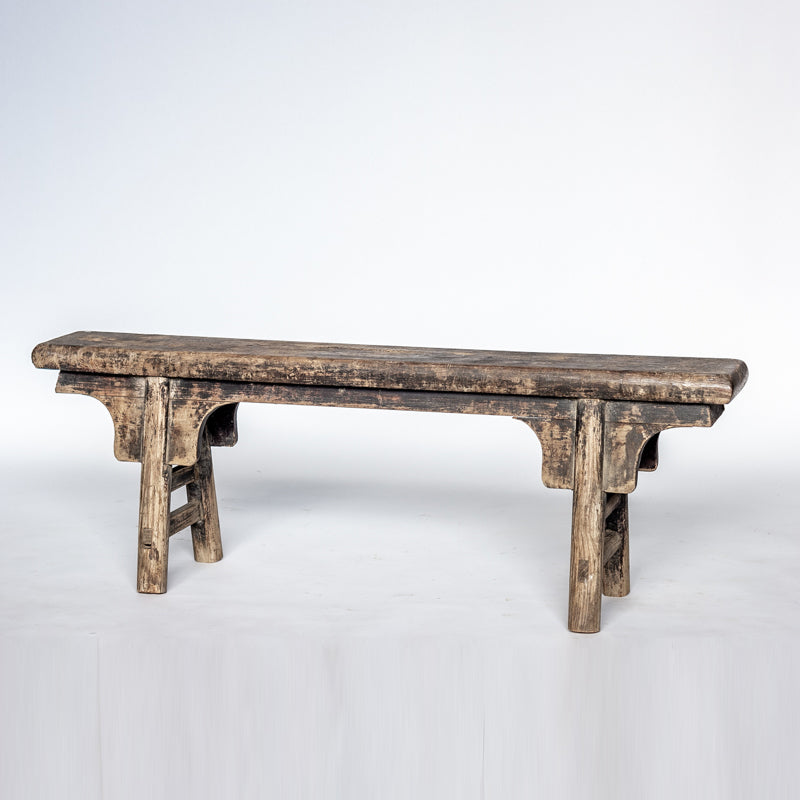 Antique Scholars Bench With Simple Spandrels SQ0517006FC-SEATING-Wu & McHugh
