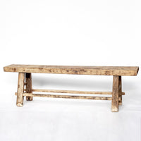 Vintage Large Bench with Weathered Top YX0018061-SEATING-Wu & McHugh