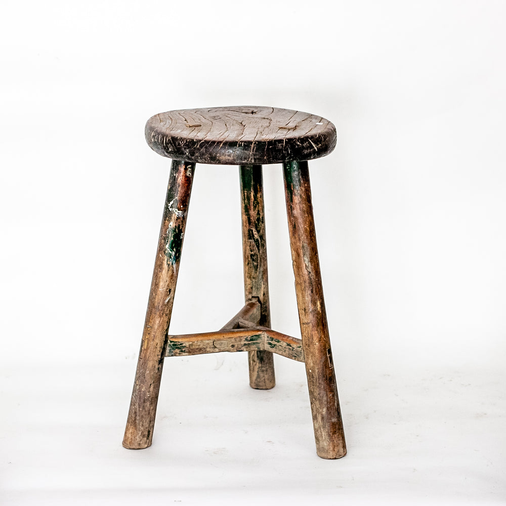 Vintage Rustic Round Three Leg Stool SQ0517005PD-2-SEATING-Wu & McHugh