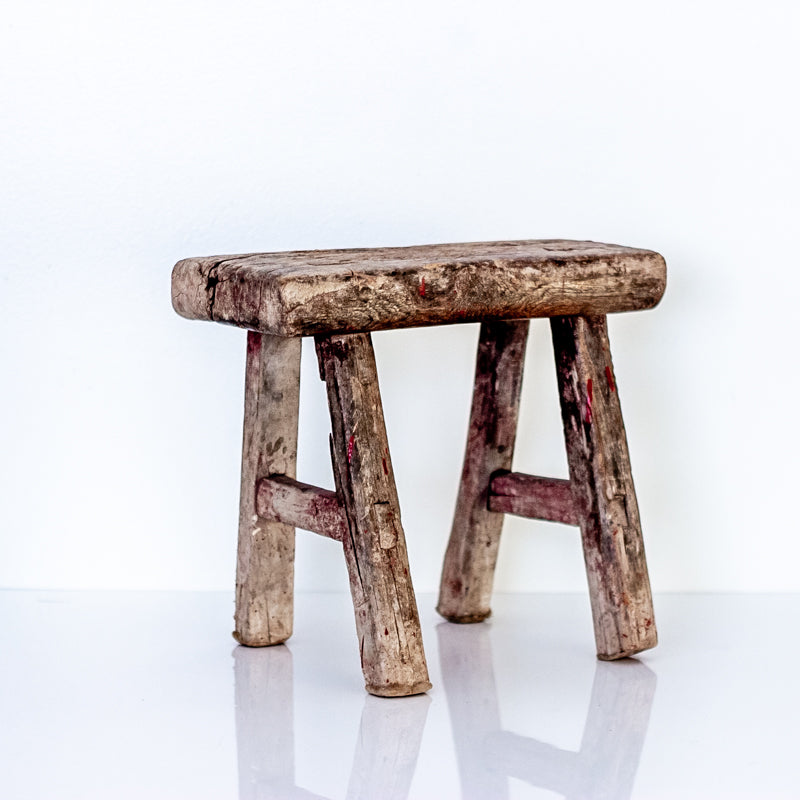 Vintage Small Elm Workers Stool FF6-SEATING-Wu & McHugh