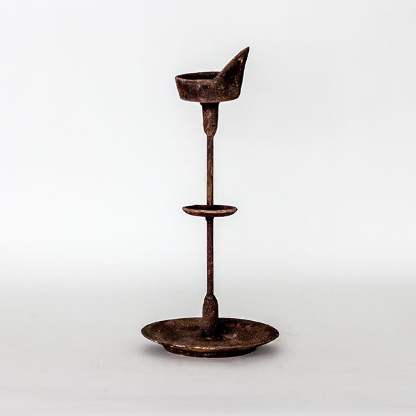 Rusted Oil Lamp Candlestick YX1116036-TABLE DÉCOR-Wu & McHugh