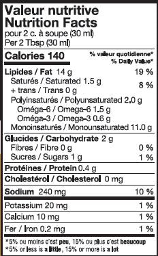 Valeur nutritive vinaigrette Dijon et érable - Nutrition facts vinaigrette Maple & Dijon