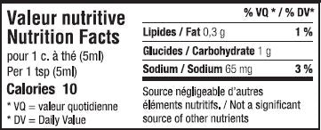 Valeur nutritive moutarde érable et harissa - Spicy maple mustard nutrition facts
