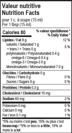 Valeur nutritive mayonnaise à l'olive - Nutrition facts olive oil mayonnaise