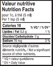 Valeur nutritive moutarde ancienne - Old-fashionned mustard nutrition facts