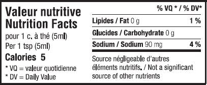 Valeur nutritive moutarde jaune - Yellow mustard nutrition facts