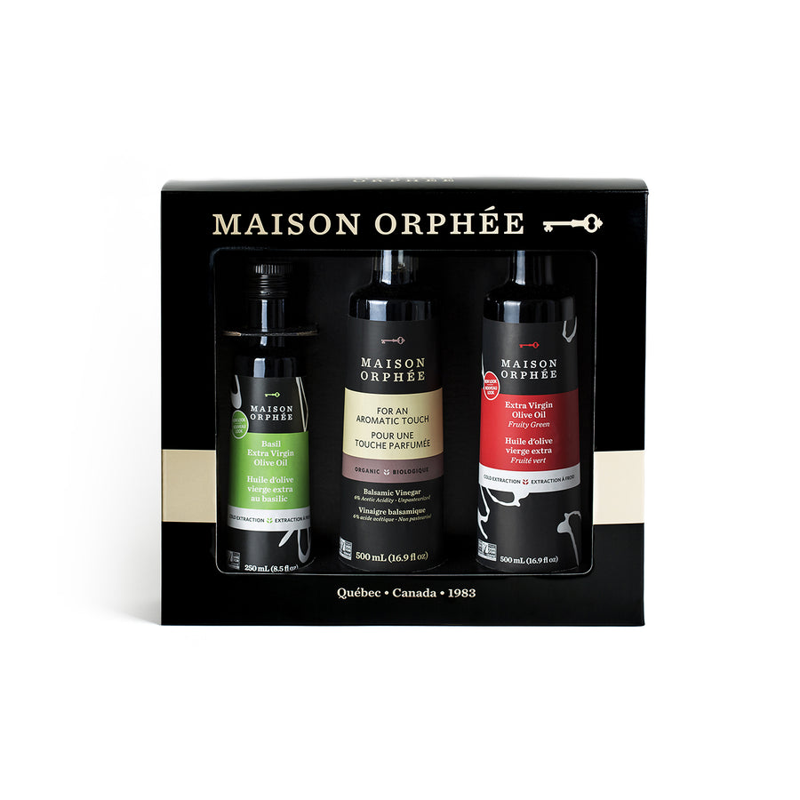 Coffret gourmand - 3 produits absolument délicieux, à offrir ou à s'offrir. Gourmet pleasure gift box - some of the best condiments you've tried in your life.