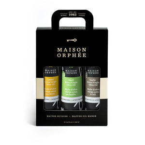 Trio d'huiles d'olive aromatisées, saveur fraîche et simple. Flavoured olive oils trio, the freshest flavoured oils you've tried.