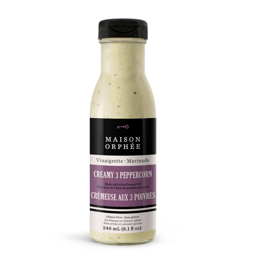 Vinaigrette-marinade Crémeuse aux 3 poivres, parfaite pour tataki de thon et de boeuf. / Creamy 3 peppercorn vinaigrette-marinade, perfect for tuna or beef tataki salads.