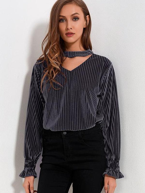 Top gris manches longues col V style velours - NISTIE