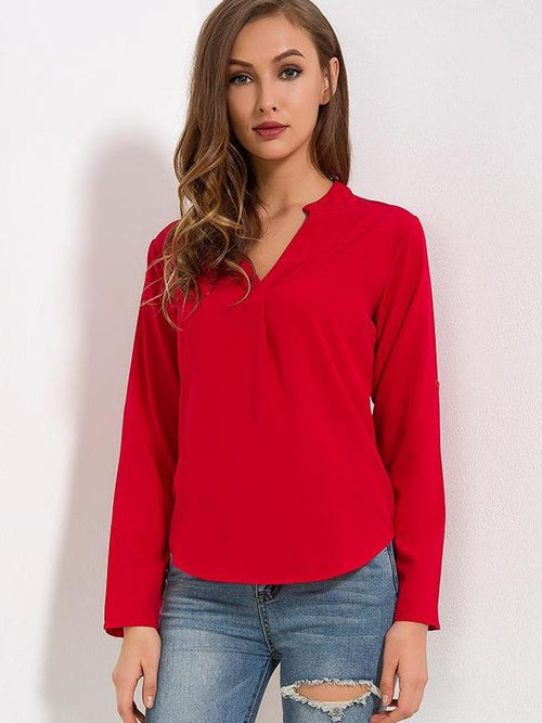Blouse rouge col V - NISTIE