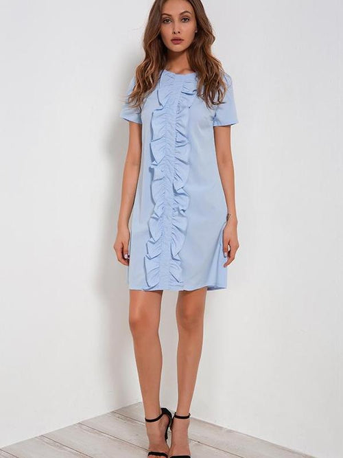 Robe t-shirt bleue à volants - NISTIE