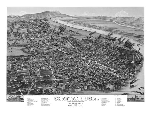 Chattanooga, TN 1886 High Resolution Download