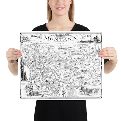 Map of Frontier Montana, a one page history dedicated to the Old Timers, 1936 (B&W)