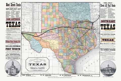 Texas Railroad Map, 1876