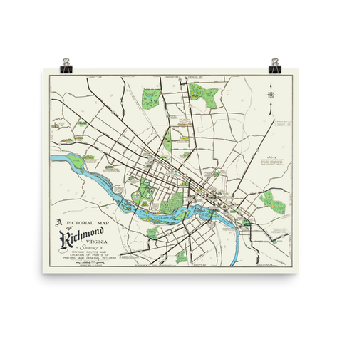 Pictorial Map of Richmond, Virginia 1937 Limited Edition