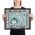 Map of the History and Romance of Florida, 1951 Framed
