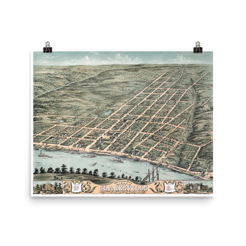 Clarksville, TN 1870 Map