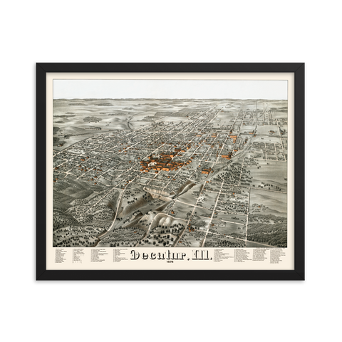Decatur, Illinois 1878 Framed
