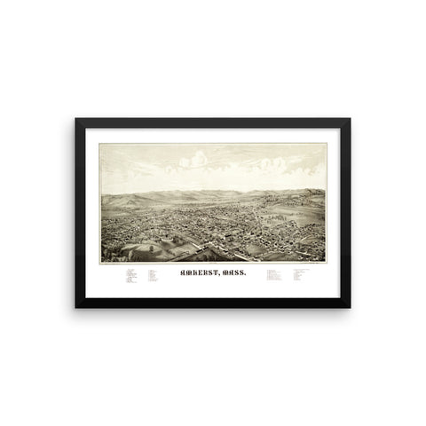 Amherst, Massachusetts 1886 Framed Historic Map