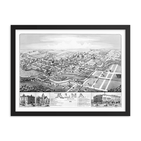 Alma, Michigan 1885 Framed Map