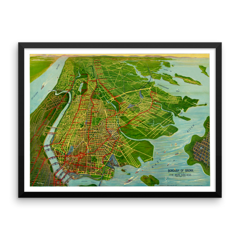 Bronx, New York 1921 Framed Bird's Eye View