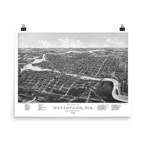 Watertown, Wisconsin 1885 Map