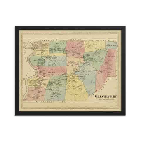 Glastonbury, CT 1869 Framed