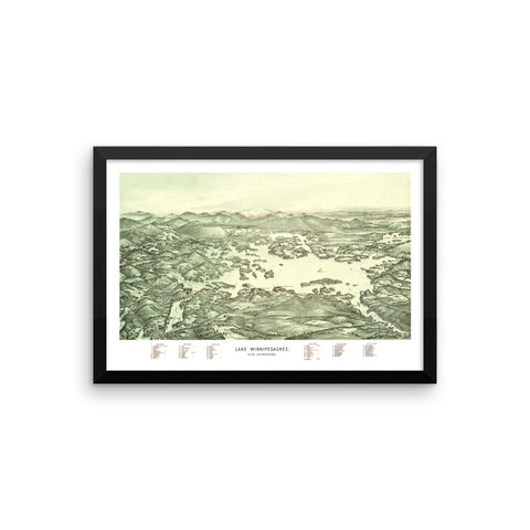 Lake Winnipesaukee Framed Boater's Map