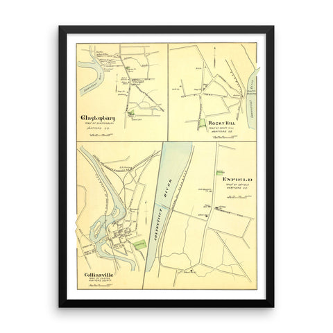 Framed Map of Enfield, Glastonbury, and Rocky Hill