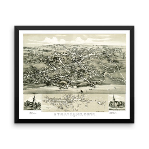 Stratford, Connecticut 1882 Framed Bird's Eye View