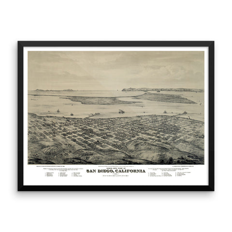San Diego, California 1876 Framed