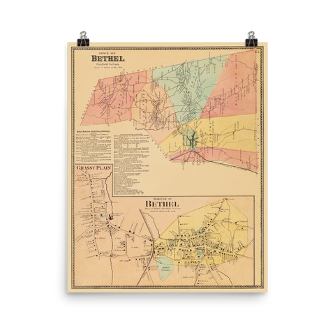 Bethel, CT 1867 Landowners Map
