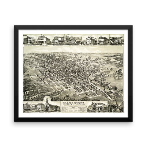 Hazleton, PA 1884 Framed Bird's Eye View Map