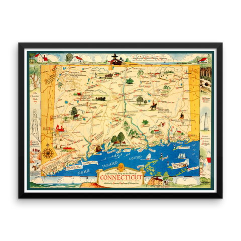 Connecticut Historical Map, 1937 Framed
