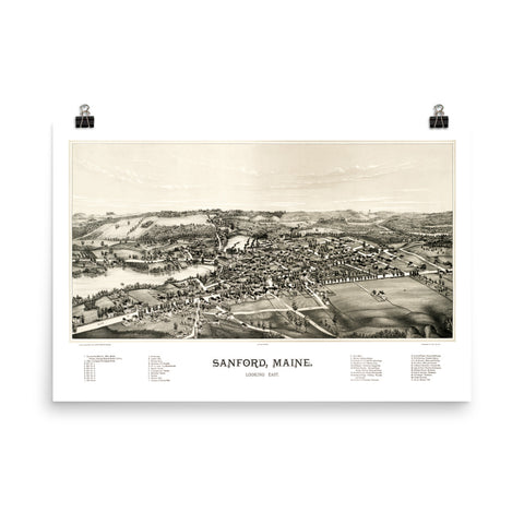 Bird's eye view of Sanford, Maine in 1889