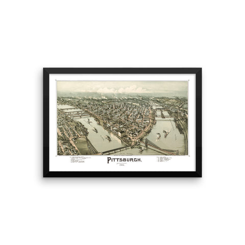 Pittsburgh, PA 1902 Framed Map