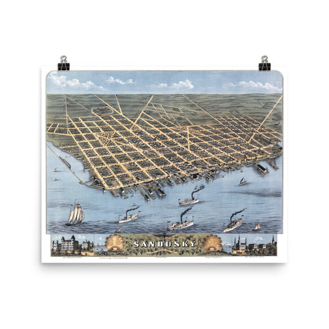 Historic Bird's Eye View of Sandusky, Ohio in 1870