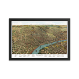 Nashville, Tennessee 1888 Framed Map