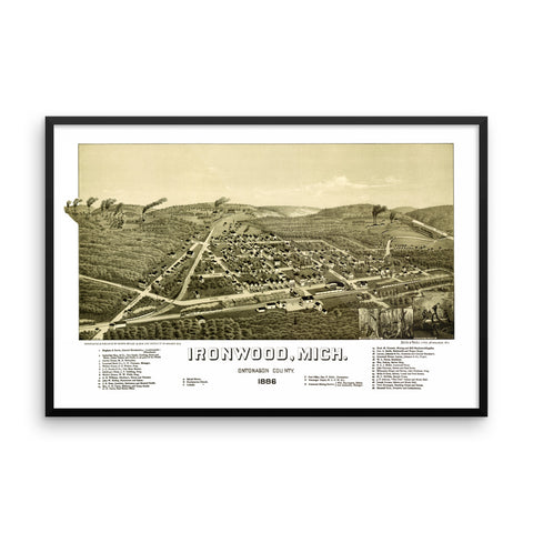 Ironwood, Michigan 1886 Framed