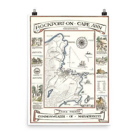 Decorative Map of Rockport, Massachusetts from 1940's