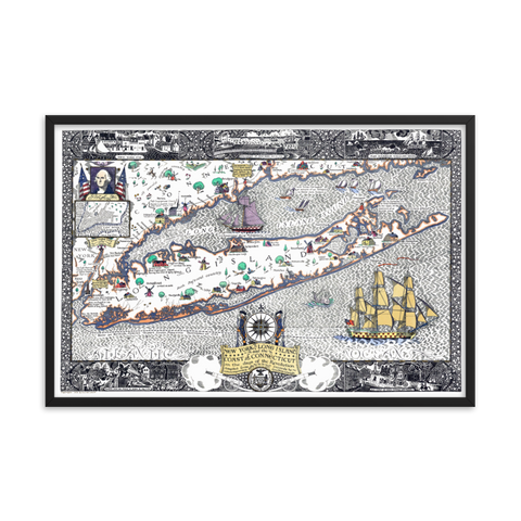 Long Island New York Revolutionary Framed Map