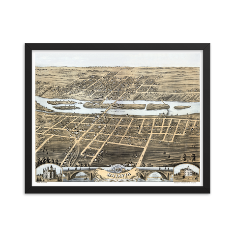Batavia, IL 1869 Framed Historic Map