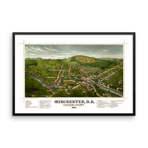 Winchester, NH 1887 Framed Map
