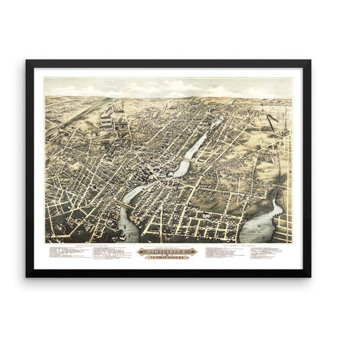 Pawtucket & Central Falls, Rhode Island 1877 Framed